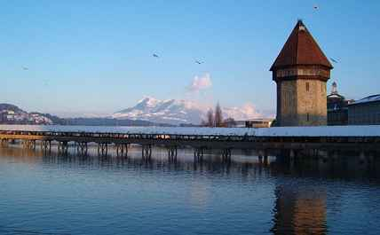 Lucerne, Chapel Bridge and Mount Rigi