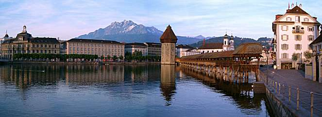 Lucerne: Chapel Bridge, Water Tower and Mount Pilate
