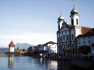 Lucerne, Jesuit Church and Chapel Bridge
